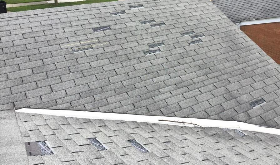 wind damage on a roof